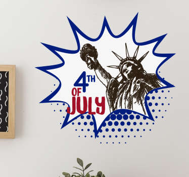 Decorative 4th of July sign with the motive of the Statue of Liberty. Celebrate this special day with the right decoration.