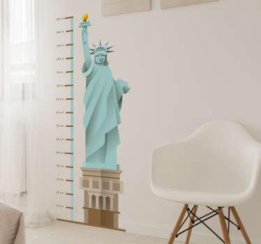 Frihedsgudinde wallsticker højdemåler