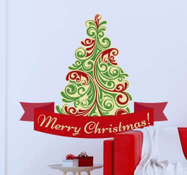 Iloinen joulukuusi olohuoneen seinän sisustus