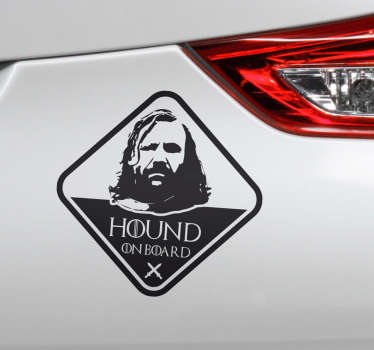 Decorative car vinyl sticker of a game of throne film character to flag on the surface of a vehicle. The design is available in any required size.