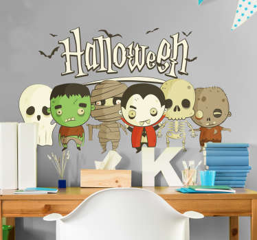 Adhesive kids Halloween wall sticker with the features of scary horror kids. This deign is available in any required size.