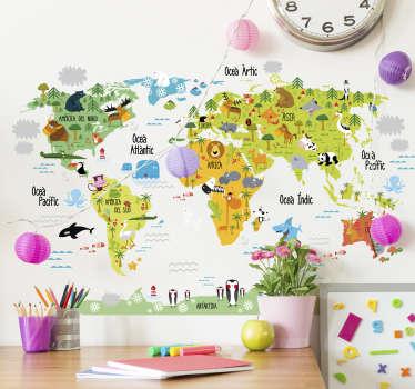 Vinilos infantiles en catalán con el dibujo de un mapa del mundo asociado con la fauna autóctona de cada lugar.