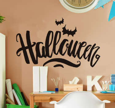 Halloween wall sticker created with horror text lettering to decorate any space for Halloween to thrill kids. It is available in different colours.