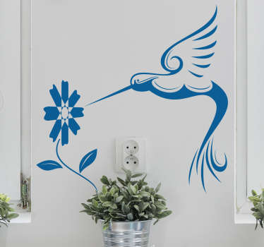Decorative humming bird with flower plant wall art decal to decorate any space of choice. The design is available in any size needed.