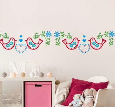 This beautiful wall border sticker is great for your kitchen or the bedroom of your child! A sticker with birds and hearts in the traditional style!