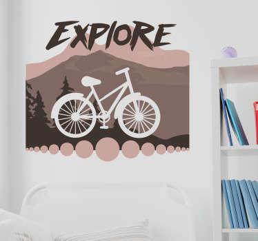 Muursticker fiets bergen explore