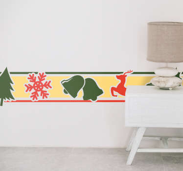 Crăciun frontieră cameră de zi decor de perete