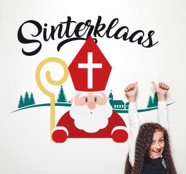 Breng de echte Sinterklaas sfeer in huis met deze gave decoratieve sticker. Naast muursticker ook te gebruiken als raamsticker.