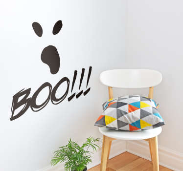 Decorate your home with a Halloween sticker. It represents the eyes and mouth of a ghost with the word boo and 3 exclamation points.