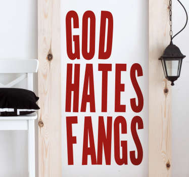 Sticker Halloween God hates Fangs