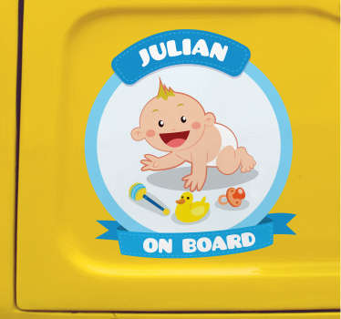 An original and customizable sticker with your child's first name to warn other road users that you are not traveling alone.