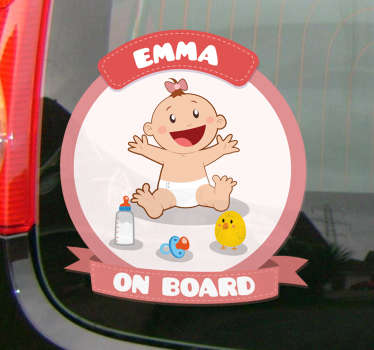 An original and customizable sticker with your child's name to warn other road users that you are not traveling alone.