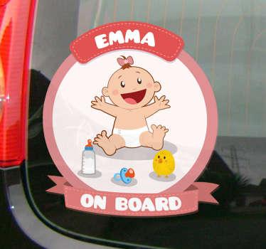 Sticker bébé à bord rose