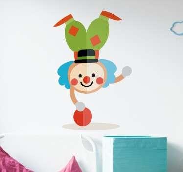 Fargerike clown håndstand vegg klistremerker for barn