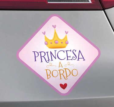 Pegatinas para coche con diseño original con el que podrás indicar al resto de conductores que en el coche viaja tu hija, tu pequeña princesita.
