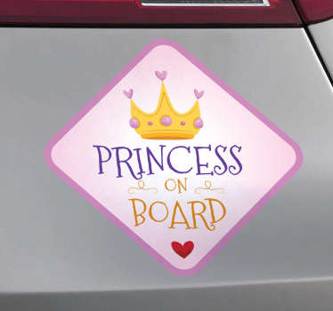Princess On Board bil sticker