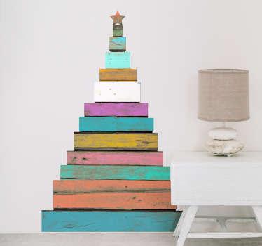 Sticker kerstboom houten planken