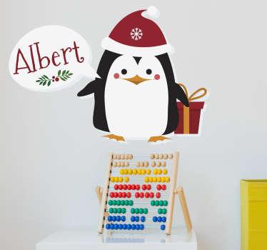 Sticker kerst pinguïn personaliseerbaar