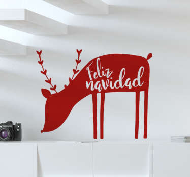 Come take a look at our gorgeous Christmas wall sticker that has a reindeer on it and you can get it in 50 colors. The sticker is very easy to apply.