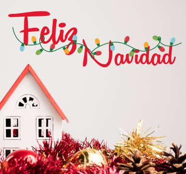 Desea unas felices fiestas a tus invitados o clientes con un adhesivo navideño colorido y original.