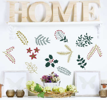 Festive plants Christmas wall sticker