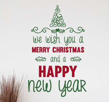 Christmas text christmas wall sticker