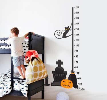 Vinilo de pared con la imagen de un medidor con elementos relacionados con la festividad de Halloween.