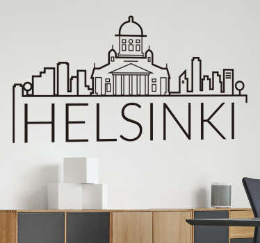 Helsinki city skyline wall sticker to decorate the home in the touch of adventure and travel. It is available in different colours and size options.