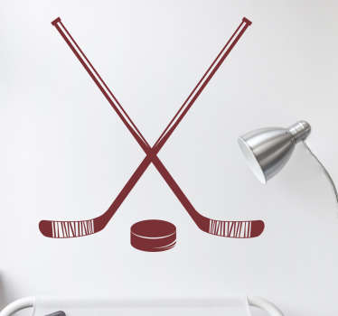 Decorative sport wall sticker with the design of a hockey stick. A nice decoration for hockey players and training centers. Available in  any size.