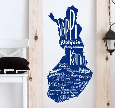 Sisustustarra Suomen kartta. Suomi 100-vuoden kunniaksi, miksi et koristaisi seinääsi tällä modernilla Suomen kartalla, jossa lukee kaikki maakunnat.