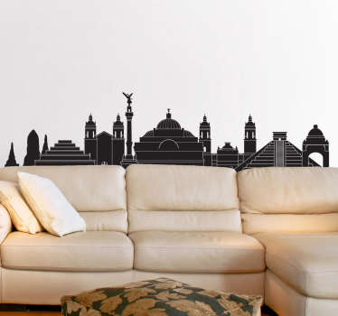 A skyline silhouette wall sticker of Mexico. Available in different options of colours and sizes. Embellish your room with our fantastic sticker!