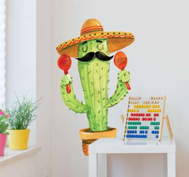 Vinilos México con un divertido dibujo de una planta de cactus vestido como un mariachi mexicano, con el sobrero típico, maracas y bigote.