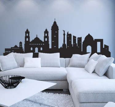 Mexico city skyline silhouette wall sticker to decorate your space in style. The product is available in different colours and size options.