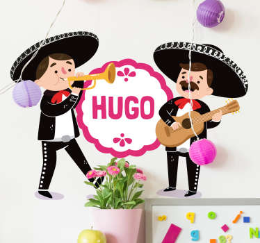 Personalizable mariachis illustration sticker for children. The design features little mariachis artist playing musical instruments.