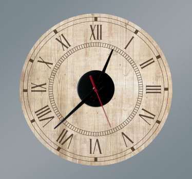 Vintage wood texture wall clock sticker to decorate any space of choice. It is available in any required size and easy to apply.