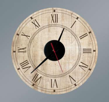 Klok muursticker vintage hout