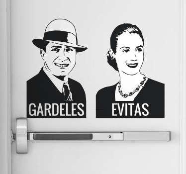 Vinilos para puertas de aseos con la representación de dos de las figuras más importantes de la cultura y la política argentina.