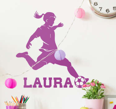 Personalisable name female footballer wall sticker for teenagers and kids room decoration. It is available in different colours and size options.