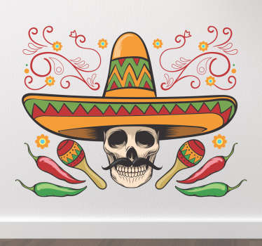 Mexico 5th of May Halloween sticker for Halloween celebration. This design is available in any required size. Easy to apply and adhesive.