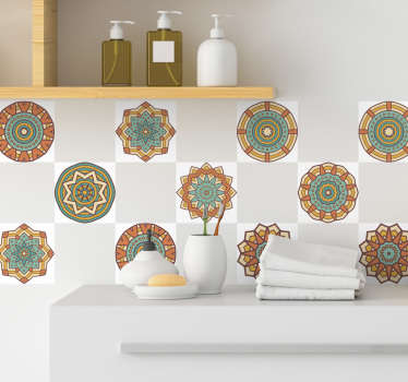 An adhesive wall tile sticker created with Kaleidoscopic pattern design. We have it in any size required to decorate a bathroom and kitchen tiles.