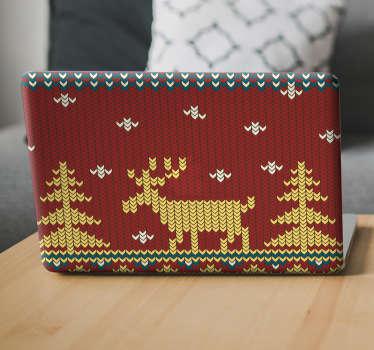 Laptopsticker kerst borduurwerk
