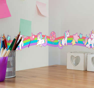 Decorative wall border decal with the design of rainbow colored unicorn to decorate the bedroom space of children. Easy to apply.