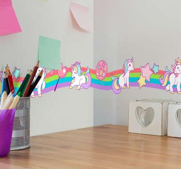 Behangrand regenboog eenhoorns