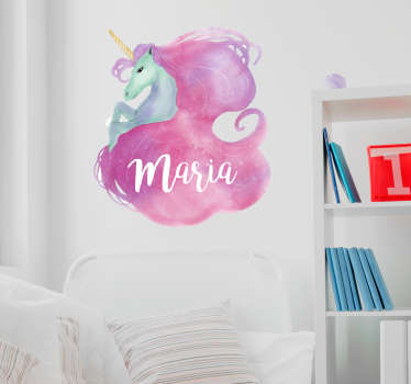 Customizable watercolor unicorn fantasy decal to decorate the bedroom space of any child. It application is easy and it is available in any size.