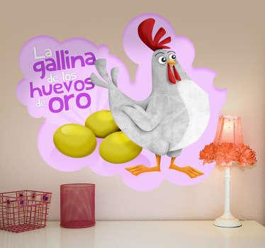 Ilustración de la gallina de los huevos de oro con mirada orgullosa al lado de sus huevos.