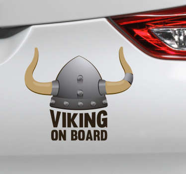 Baby on board car sticker with the design logo of a viking. The design is available in any required size and it has an easy application.
