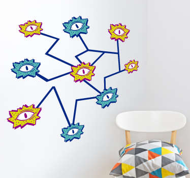 Sticker mural dessins d'yeux
