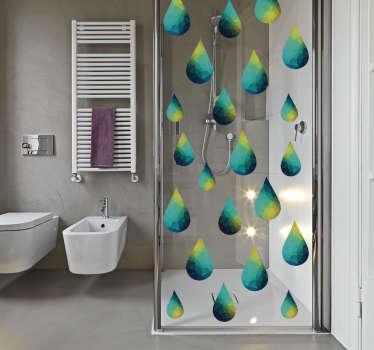 Sisustustarra pisarat. Värikäs koristetarra sinivihreistä pisaroista, joka sopii teemansa puolesta täydellisesti suihkukaapin lasiin.