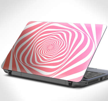 Kaleidoscope spiral laptop sticker to decorate a laptop in a visual effect appearance. Te size is customisable in any dimension.