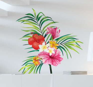 Botanic plant flower wall sticker to decorate any flat wall space be it in the home or for an office. It size is customisable.